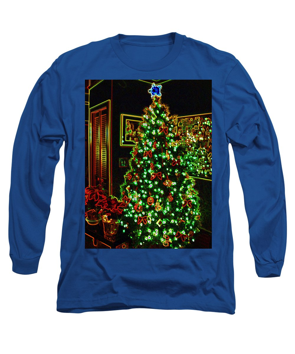 Christmas Long Sleeve T-Shirt featuring the photograph Neon Christmas Tree by Nancy Mueller