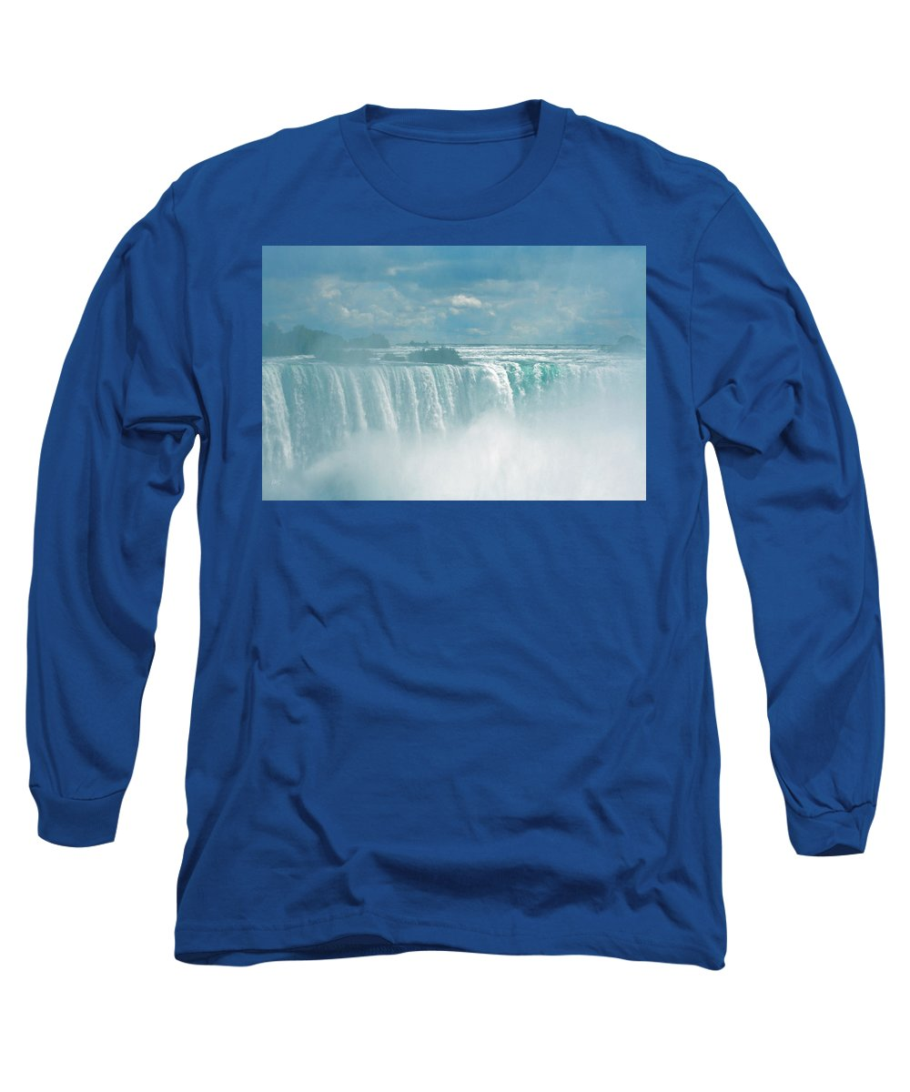 Waterfall Long Sleeve T-Shirt featuring the photograph Niagara Falls In The Blue Mist by Ben and Raisa Gertsberg