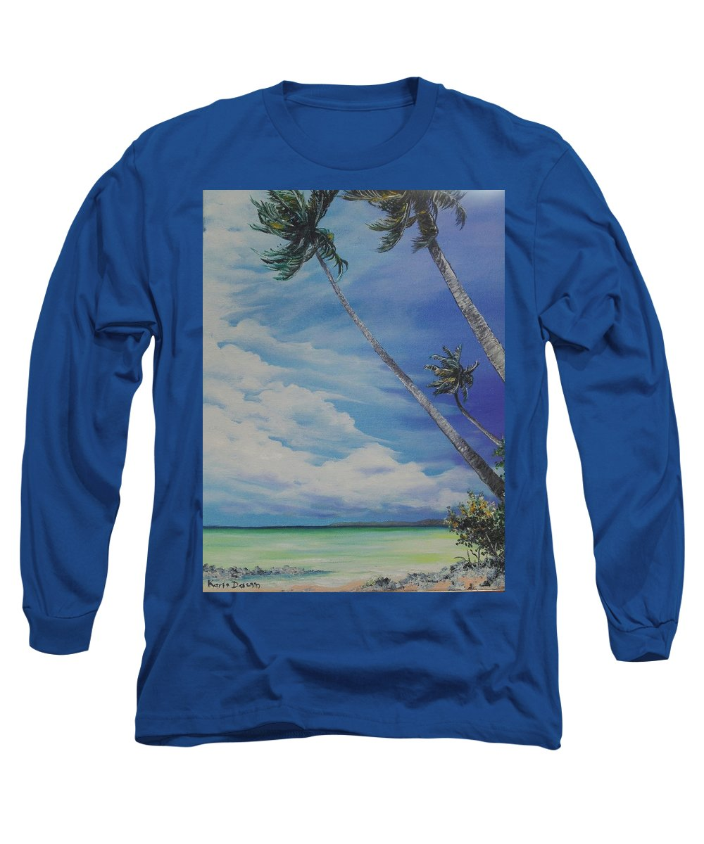 Trinidad And Tobago Seascape Long Sleeve T-Shirt featuring the painting Nylon Pool Tobago. by Karin Dawn Kelshall- Best