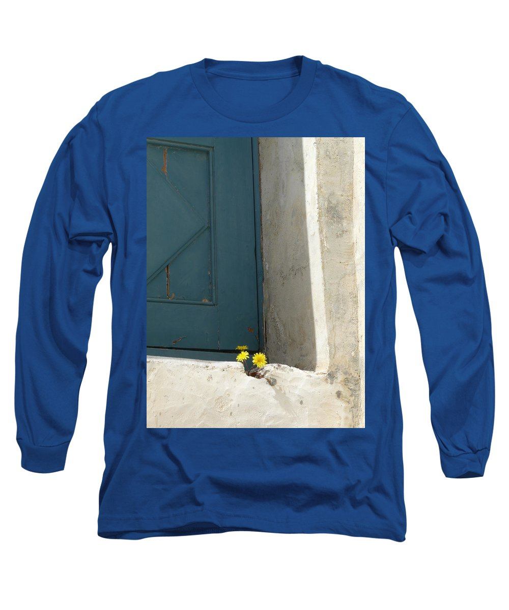 Old Long Sleeve T-Shirt featuring the photograph Old Greek Door by Valerie Ornstein