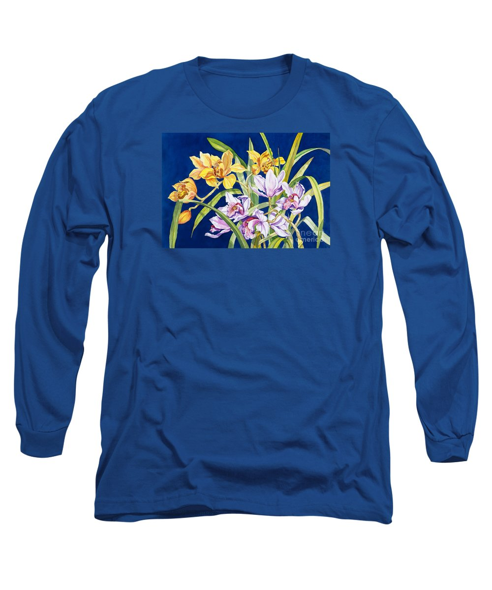 Orchids Long Sleeve T-Shirt featuring the painting Orchids In Blue by Lucy Arnold