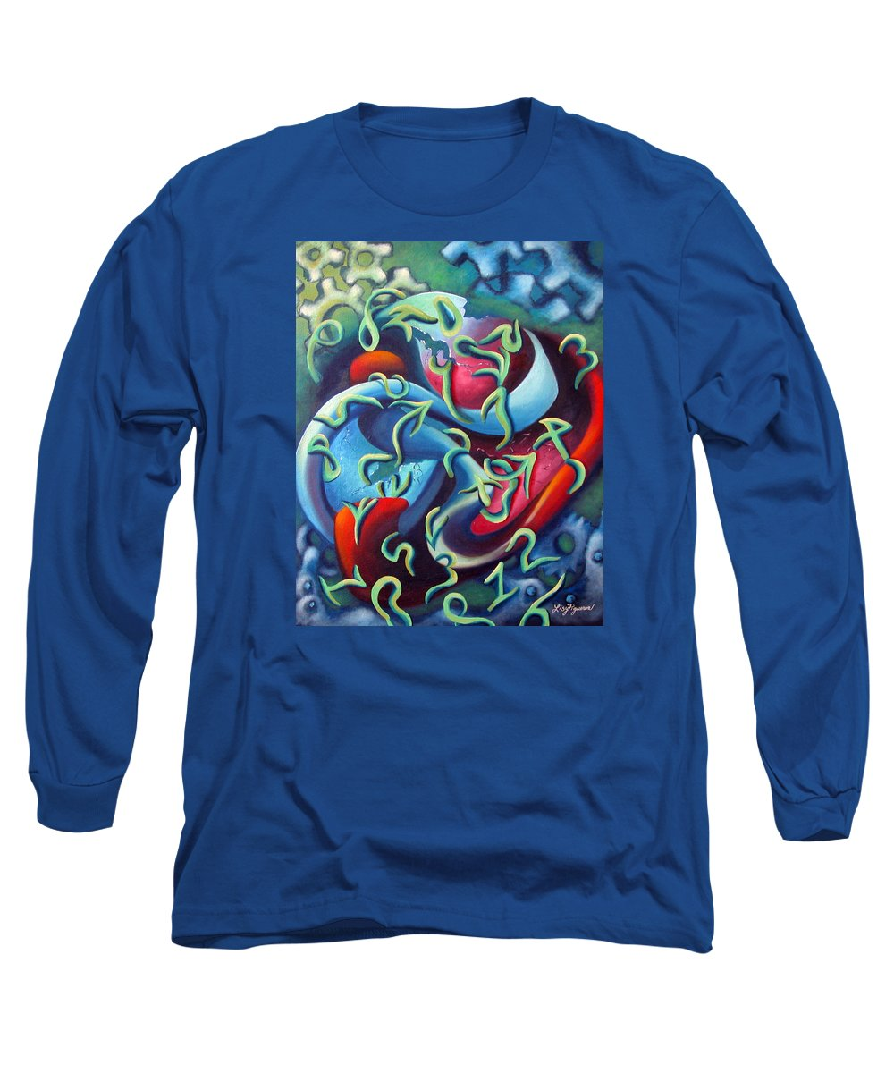 Clocks Long Sleeve T-Shirt featuring the painting Our Inner Clocks by Elizabeth Lisy Figueroa