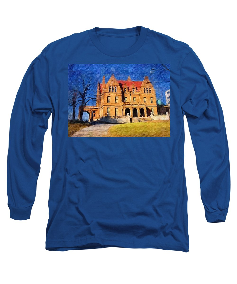 Architecture Long Sleeve T-Shirt featuring the digital art Pabst Mansion by Anita Burgermeister