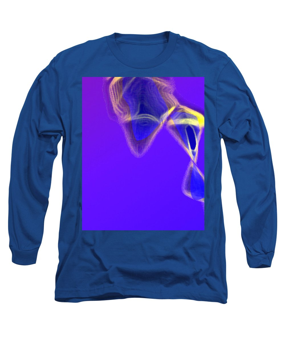 Abstract Long Sleeve T-Shirt featuring the digital art Panel One From Movement In Blue by Steve Karol