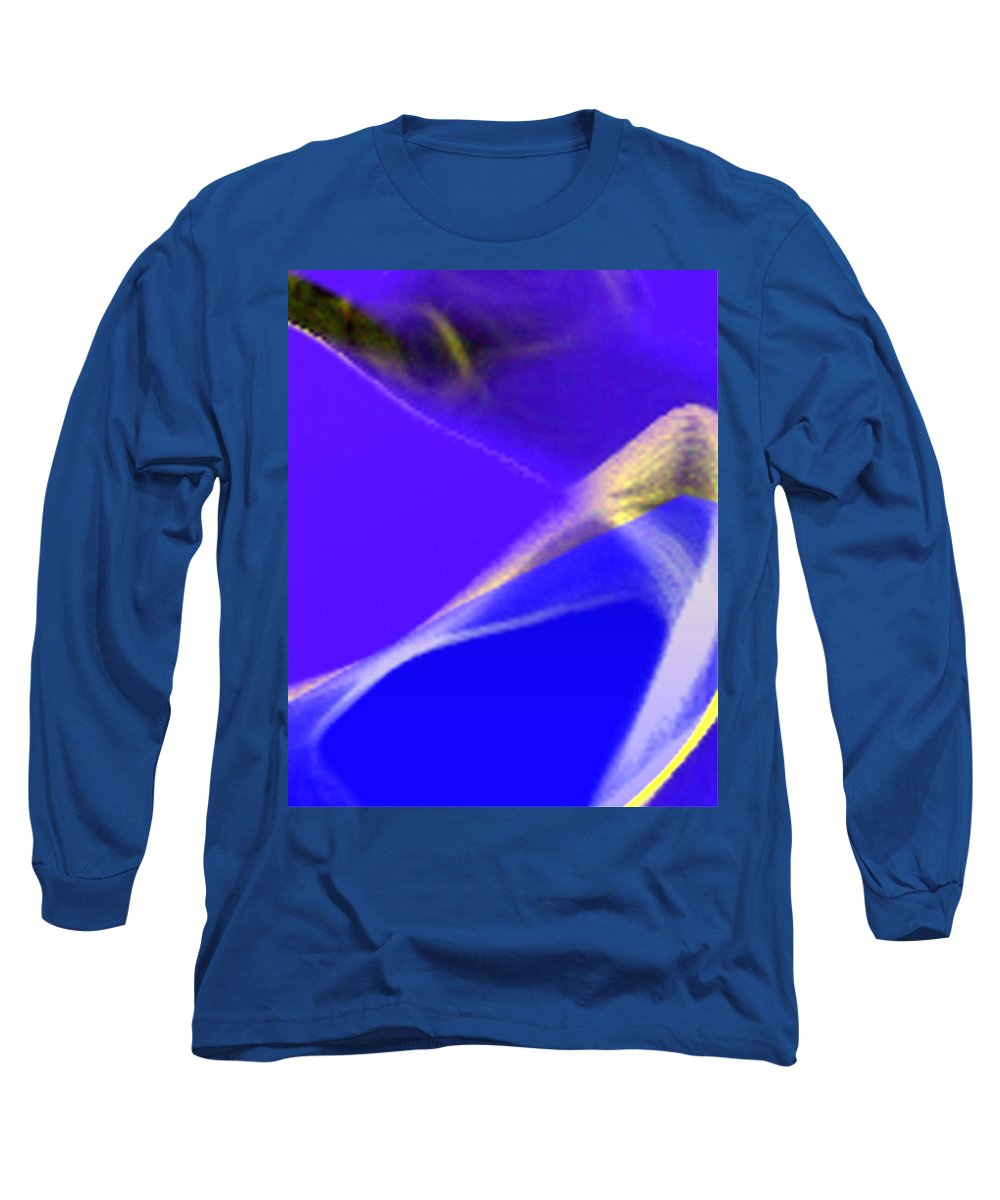 Abstract Long Sleeve T-Shirt featuring the digital art panel three from Movement in Blue by Steve Karol