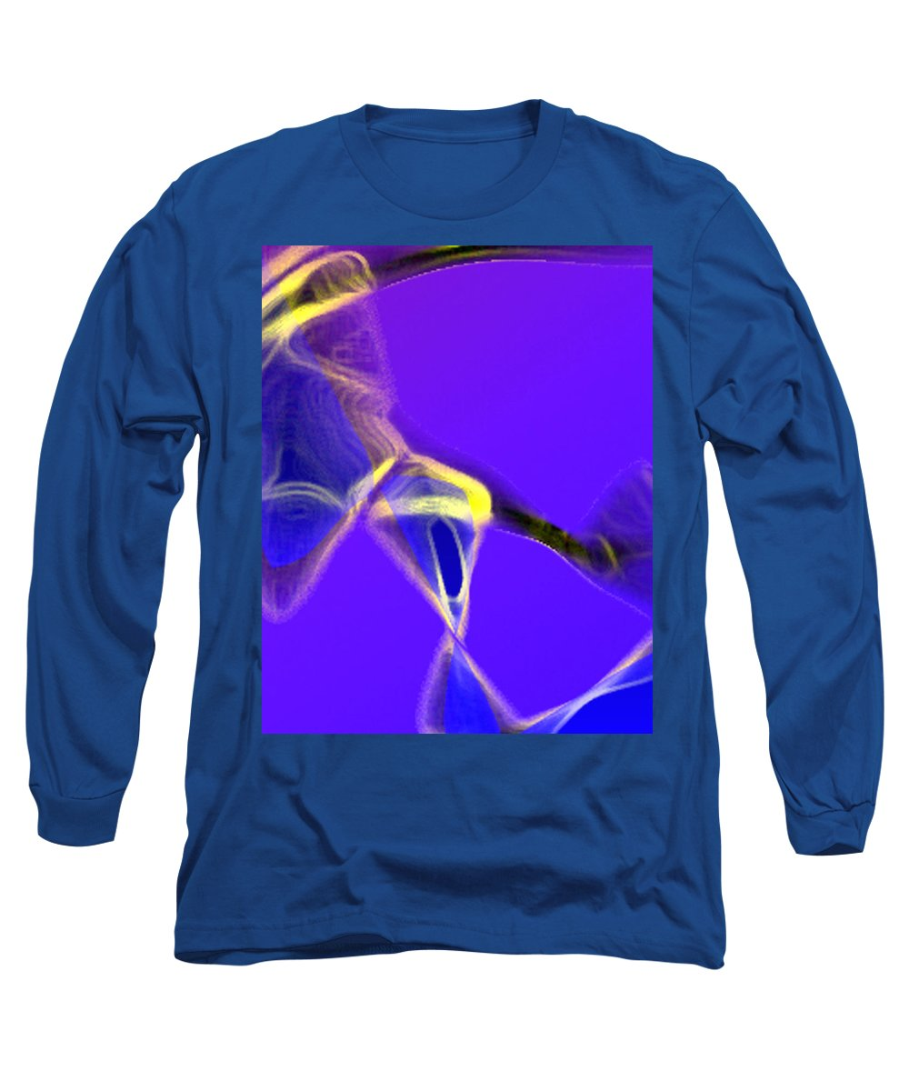Abstract Long Sleeve T-Shirt featuring the digital art panel two from Movement in Blue by Steve Karol
