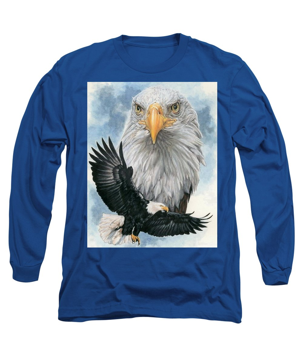 Bald Eagle Long Sleeve T-Shirt featuring the mixed media Peerless by Barbara Keith