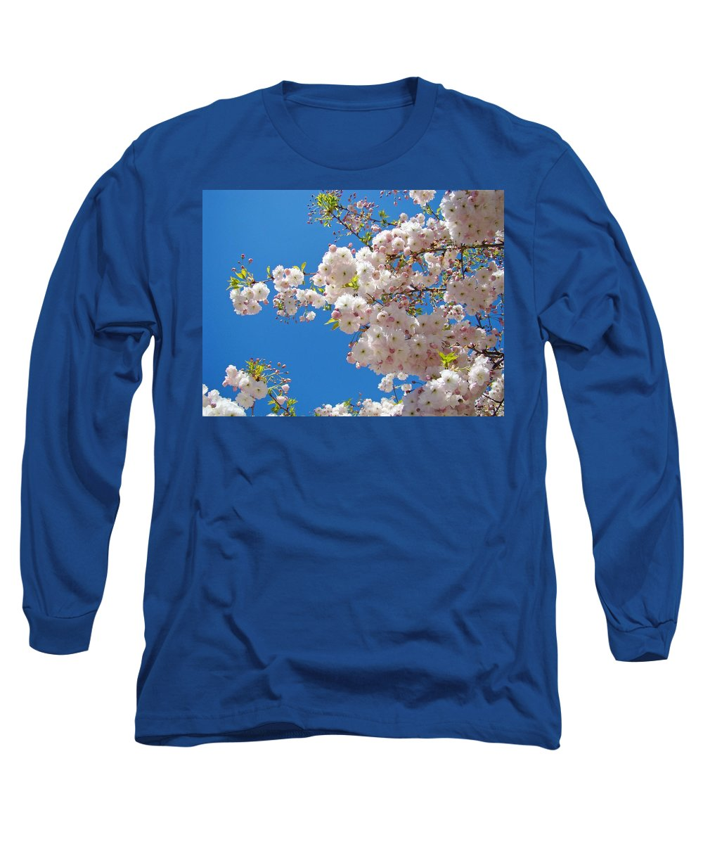 �blossoms Artwork� Long Sleeve T-Shirt featuring the photograph Pink Tree Blossoms Art Prints 55 Spring Flowers Blue Sky Landscape by Baslee Troutman