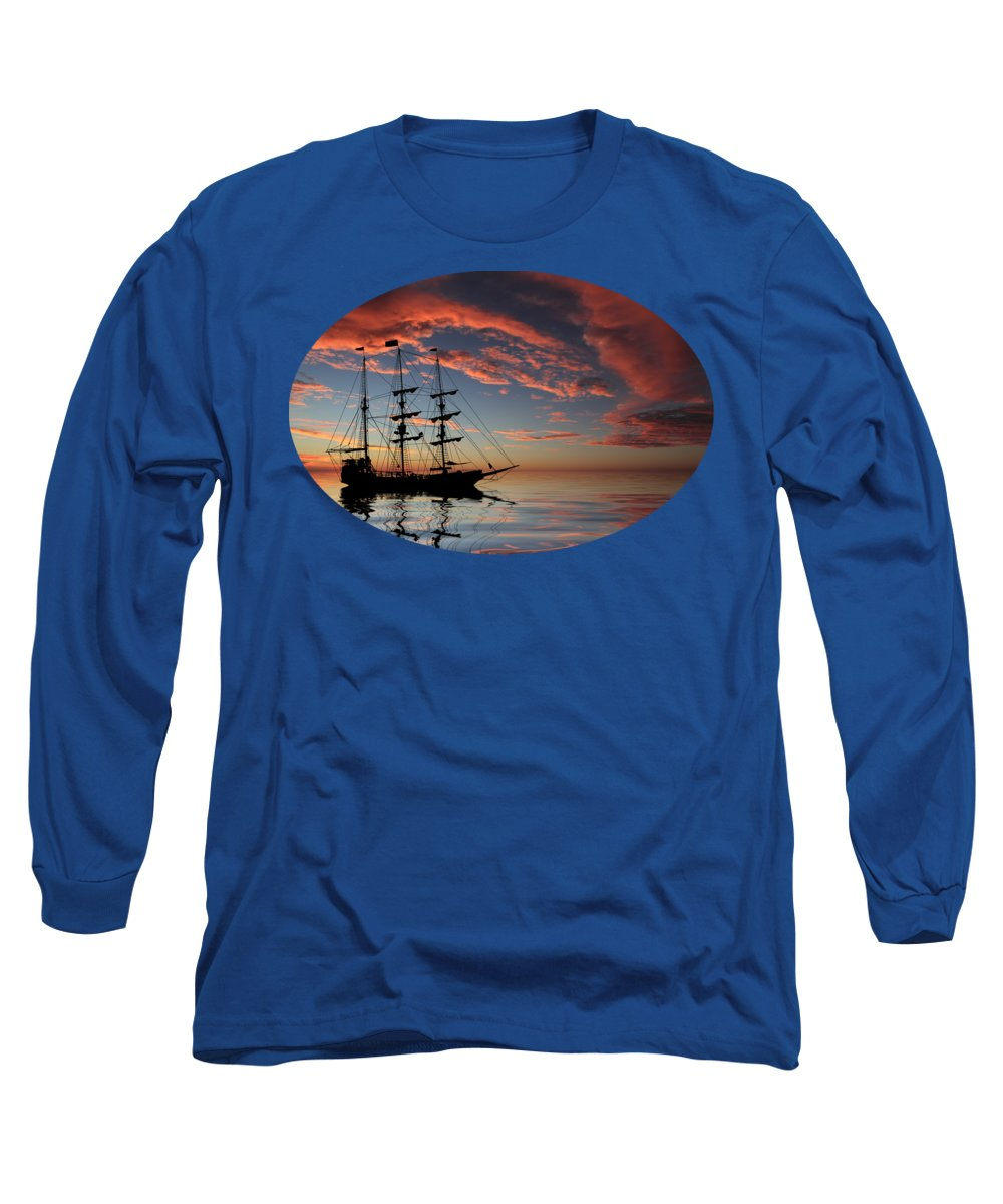 Pirate Ship Long Sleeve T-Shirt featuring the photograph Pirate Ship At Sunset by Shane Bechler