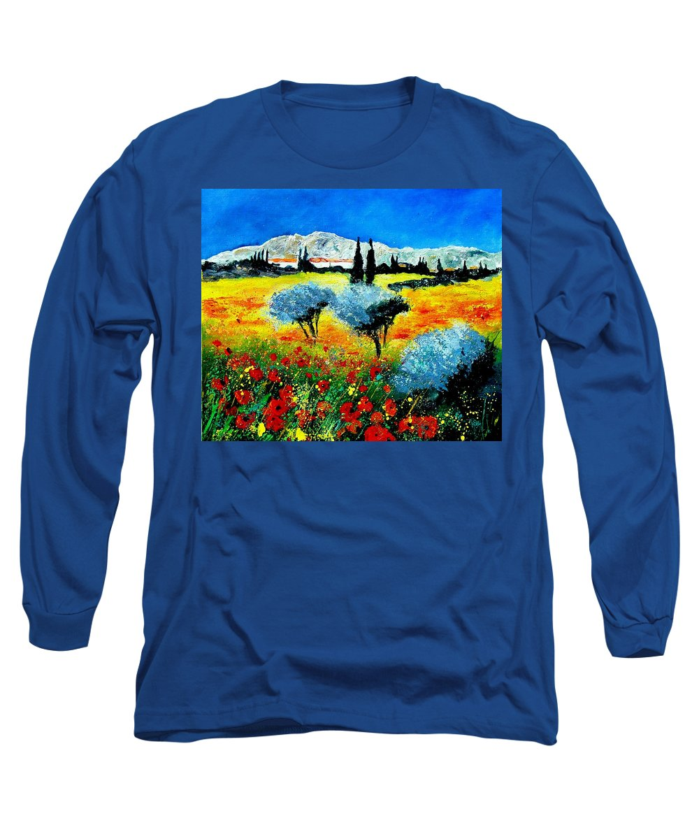 Poppies Long Sleeve T-Shirt featuring the painting Provence by Pol Ledent