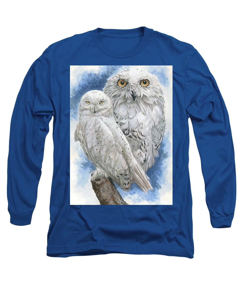 Snowy Owl Long Sleeve T-Shirt featuring the mixed media Radiant by Barbara Keith