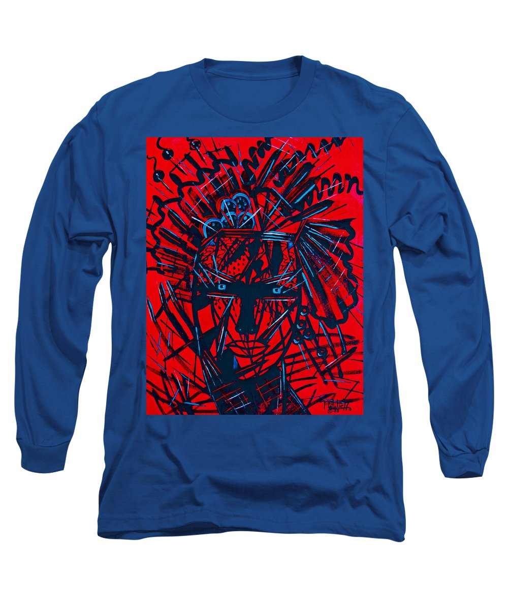Abstract Long Sleeve T-Shirt featuring the painting Red Exotica by Natalie Holland