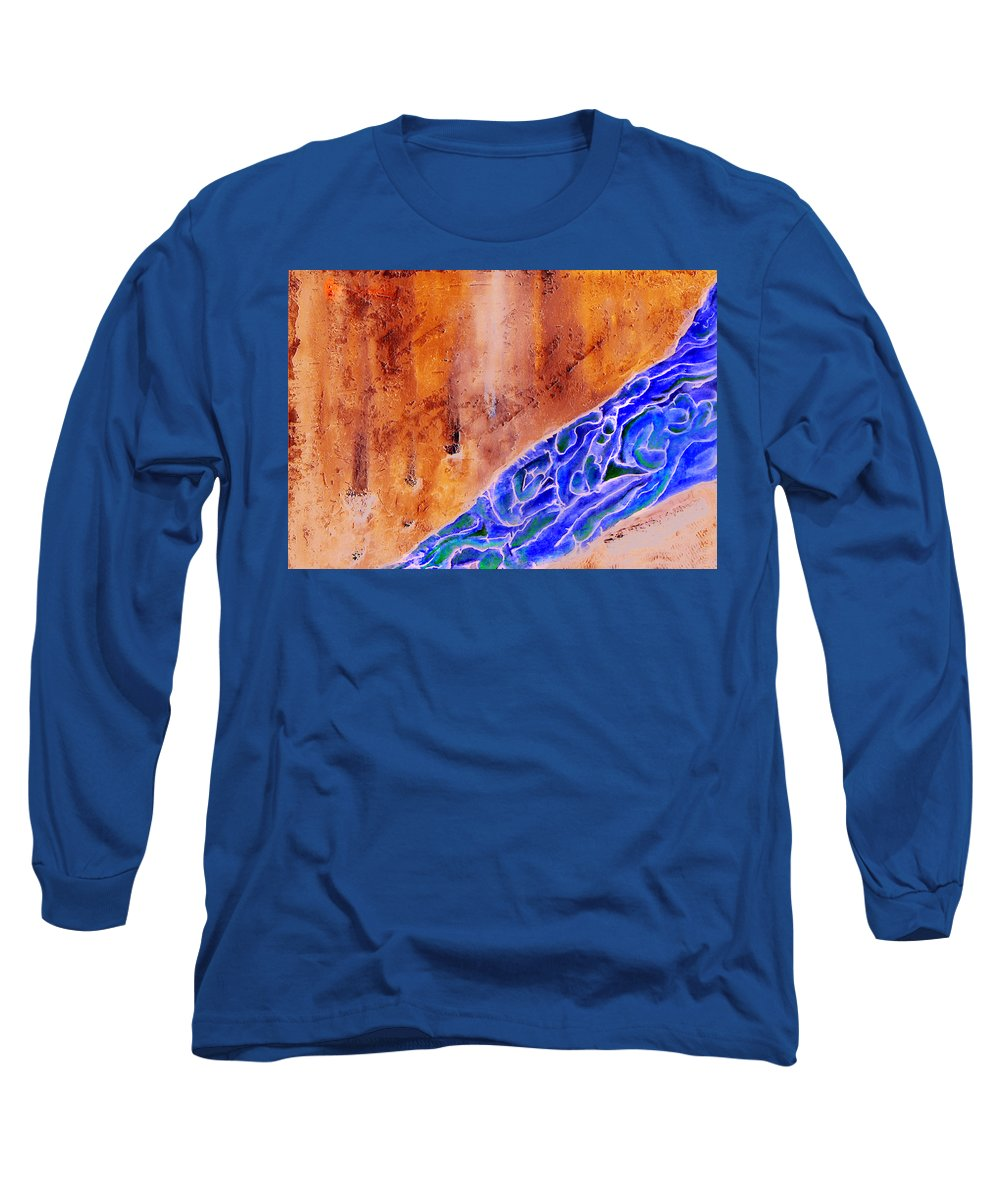 Life Flow River Water People Birth Long Sleeve T-Shirt featuring the mixed media River Of Life by Veronica Jackson