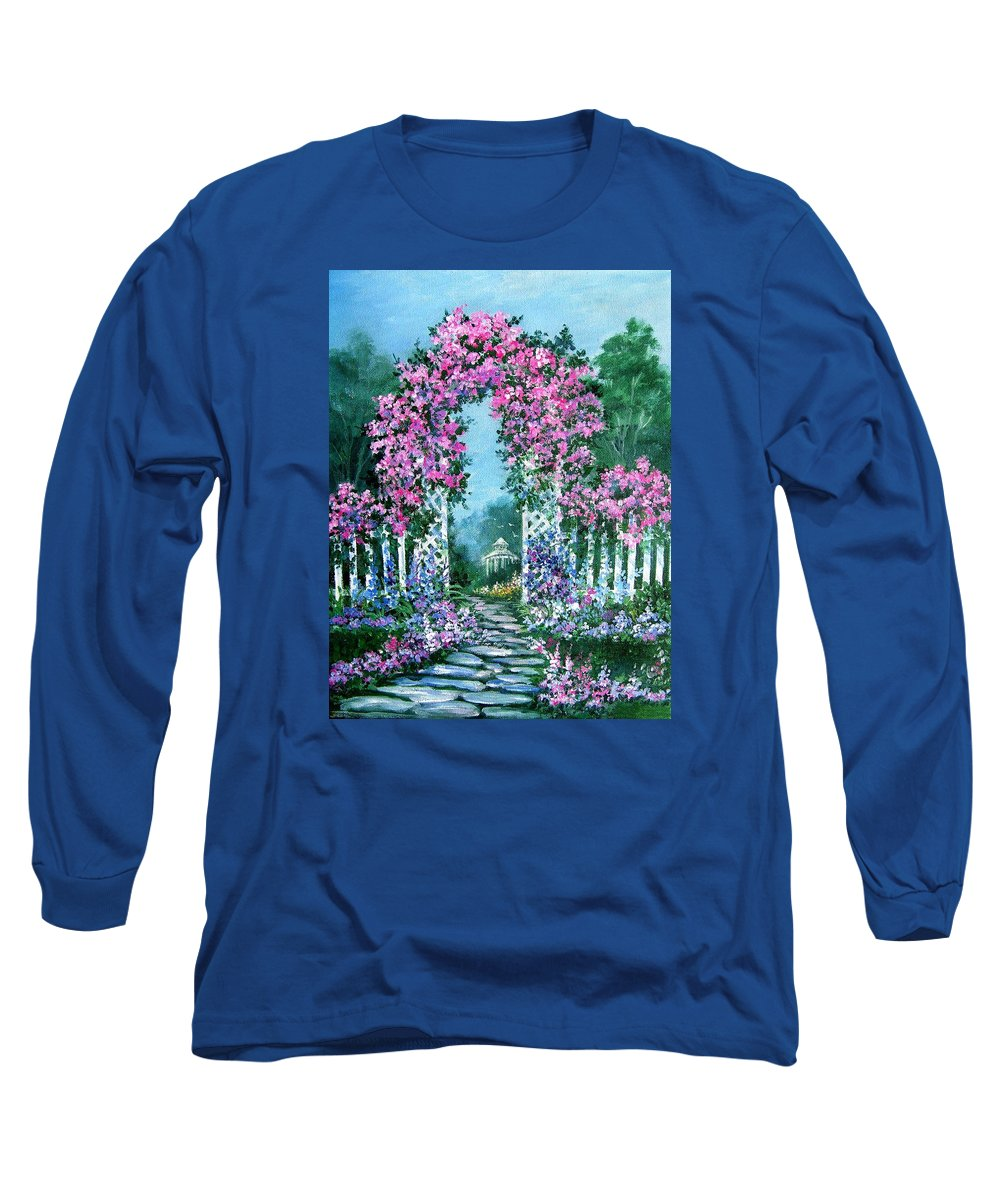 Roses;floral;garden;picket Fence;arch;trellis;garden Walk;flower Garden; Long Sleeve T-Shirt featuring the painting Rose-covered Trellis by Lois Mountz