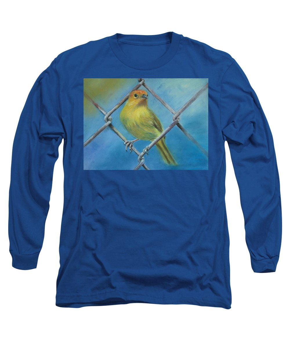 Bird Long Sleeve T-Shirt featuring the painting Safron Finch by Ceci Watson