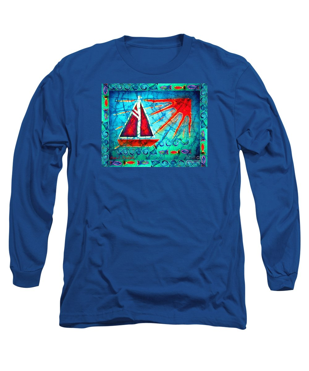 Sailboat Long Sleeve T-Shirt featuring the painting Sailboat In The Sun by Sue Duda