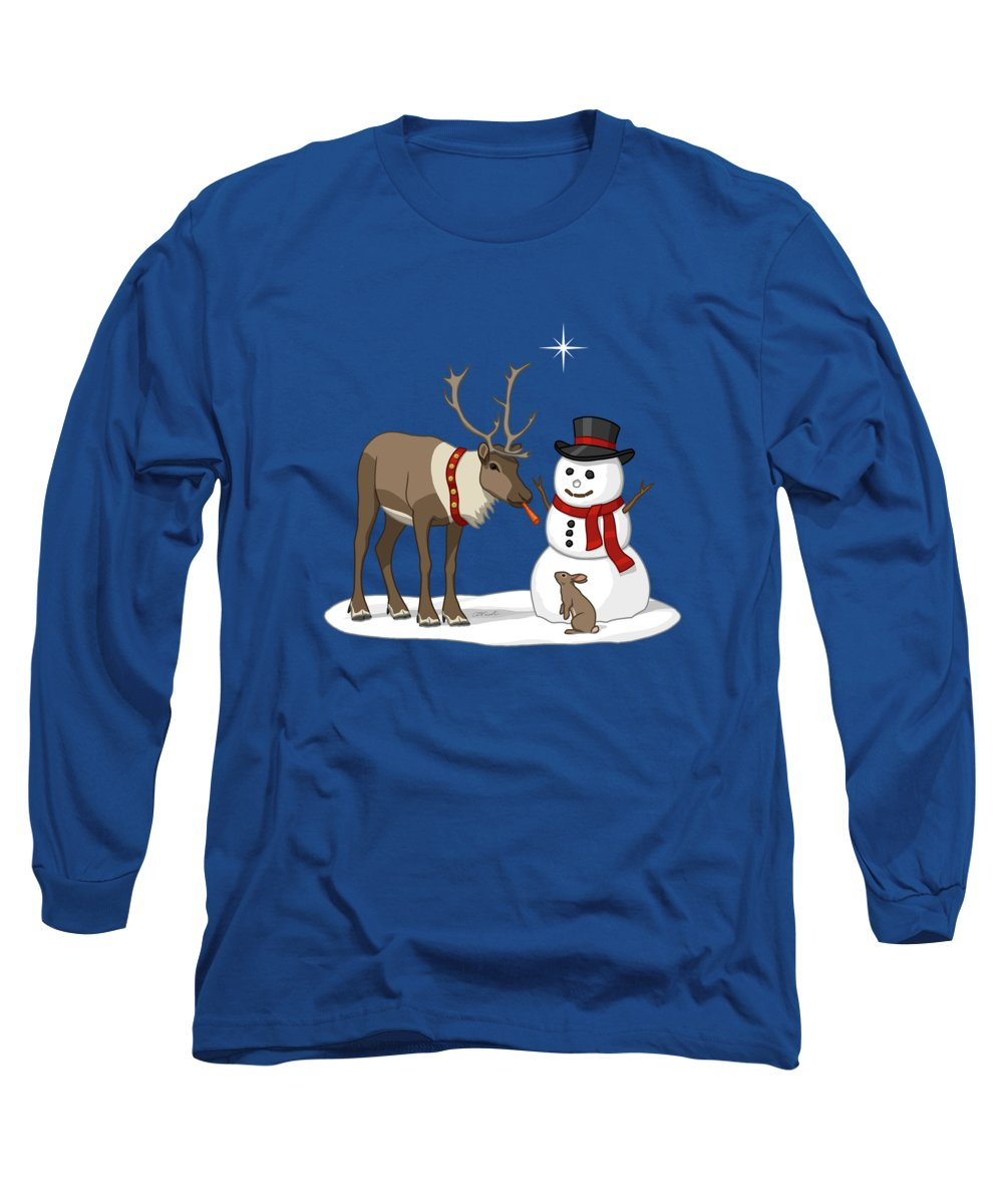 Happy Snowman Long Sleeve T-Shirt featuring the painting Santa Reindeer And Snowman by Crista Forest