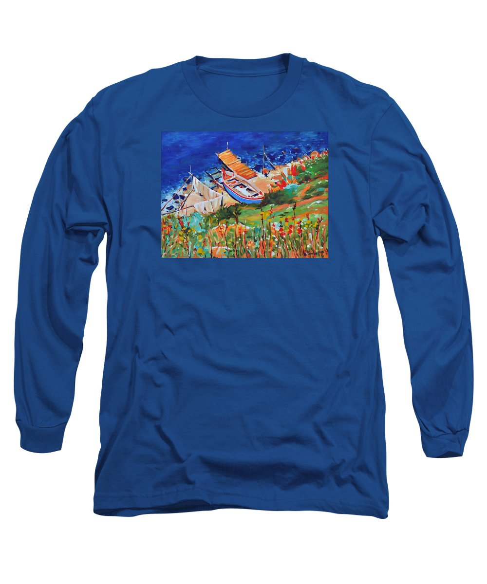 Seascape Long Sleeve T-Shirt featuring the painting Seacoast by Iliyan Bozhanov