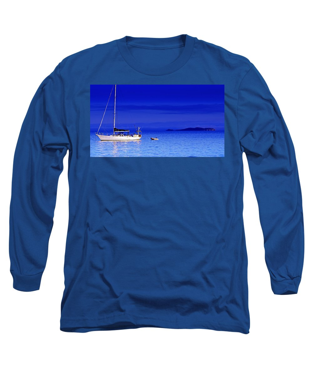 Transportation. Boats Long Sleeve T-Shirt featuring the photograph Serene Seas by Holly Kempe
