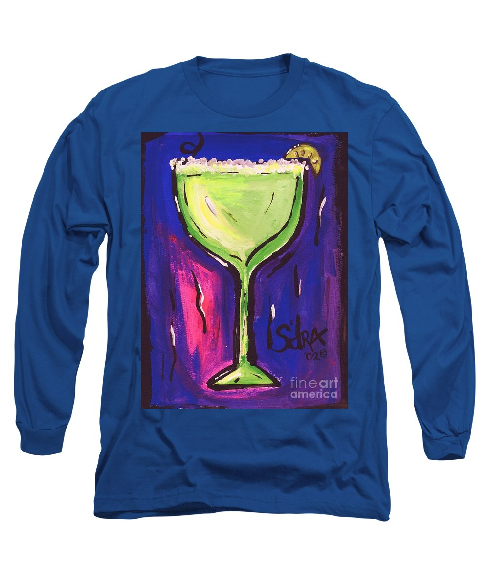 Margarita Long Sleeve T-Shirt featuring the painting Sidzart Pop Art Series 2002 Margarita Baby by Sidra Myers