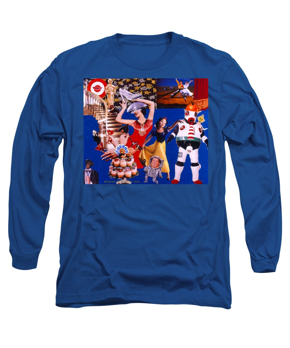 Surreal Long Sleeve T-Shirt featuring the drawing Soap Scene #23 Oscar's Kiss Of Success by Minaz Jantz