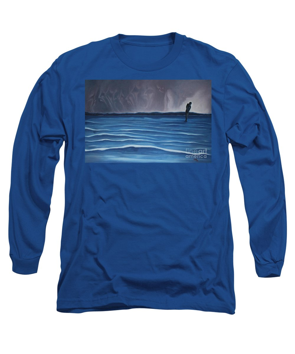 Tmad Long Sleeve T-Shirt featuring the painting Solitude by Michael TMAD Finney