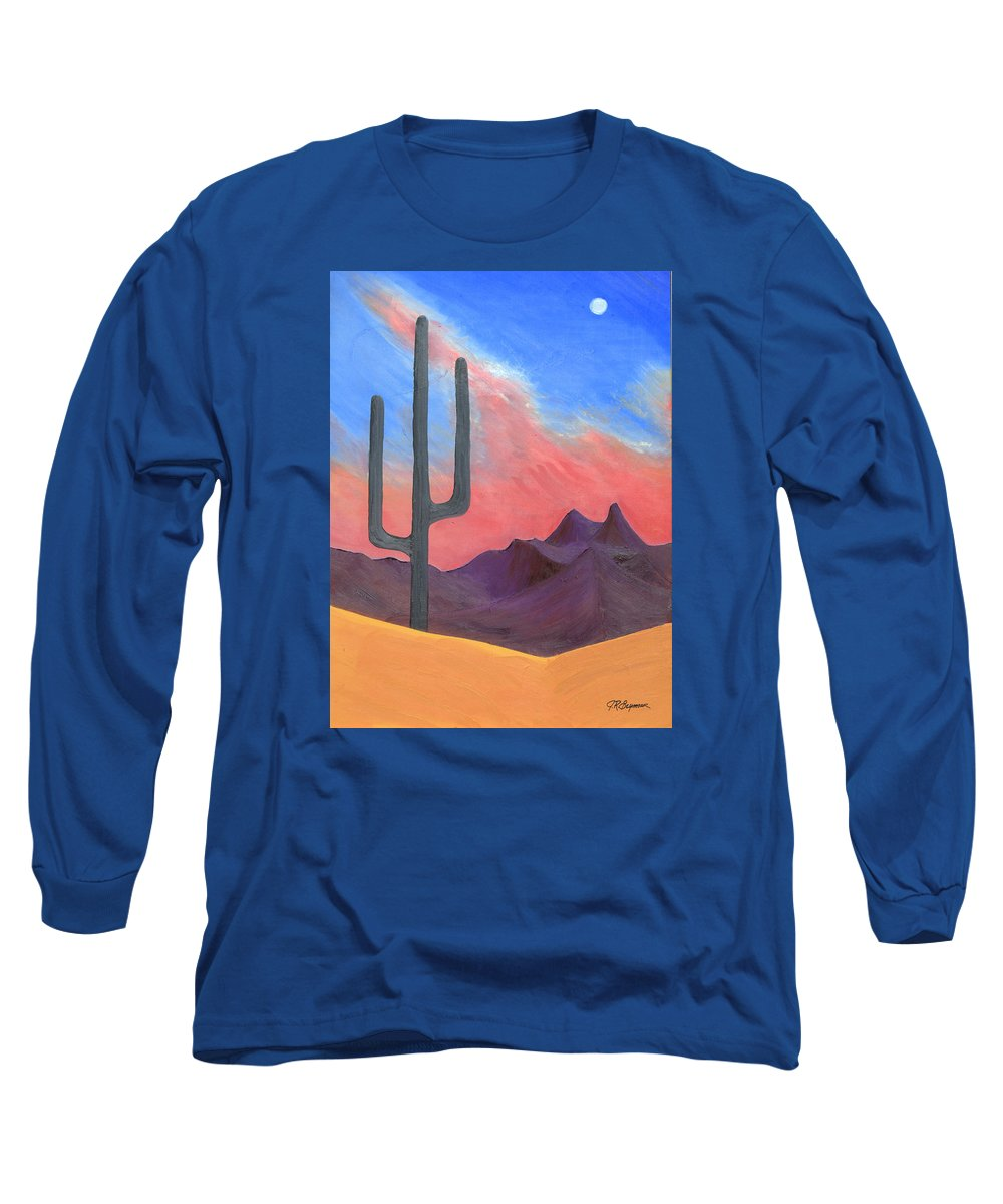 Cactus Long Sleeve T-Shirt featuring the painting Southwest Scene by J R Seymour