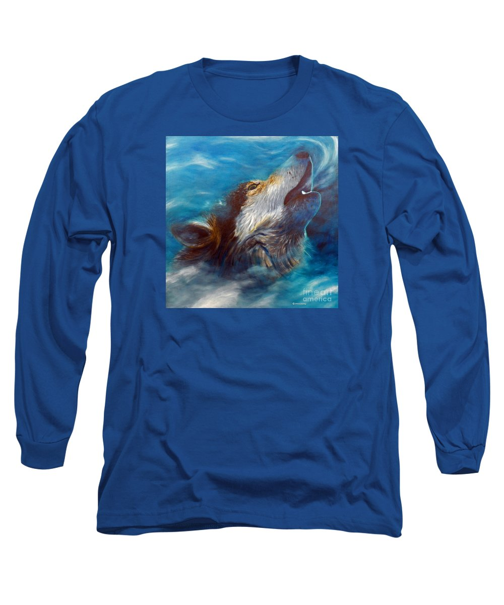 Wolf Long Sleeve T-Shirt featuring the painting Spirit Of The Wolf by Brian Commerford