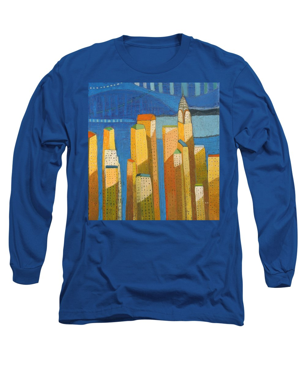 Abstract Cityscape Long Sleeve T-Shirt featuring the painting Standing High by Habib Ayat