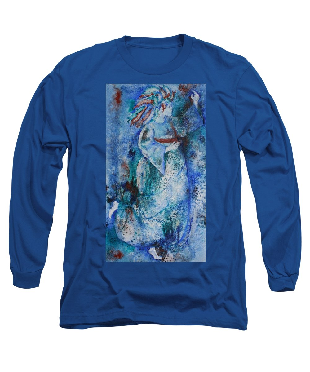 Abstract Long Sleeve T-Shirt featuring the painting Star Dancer by Jean Blackmer