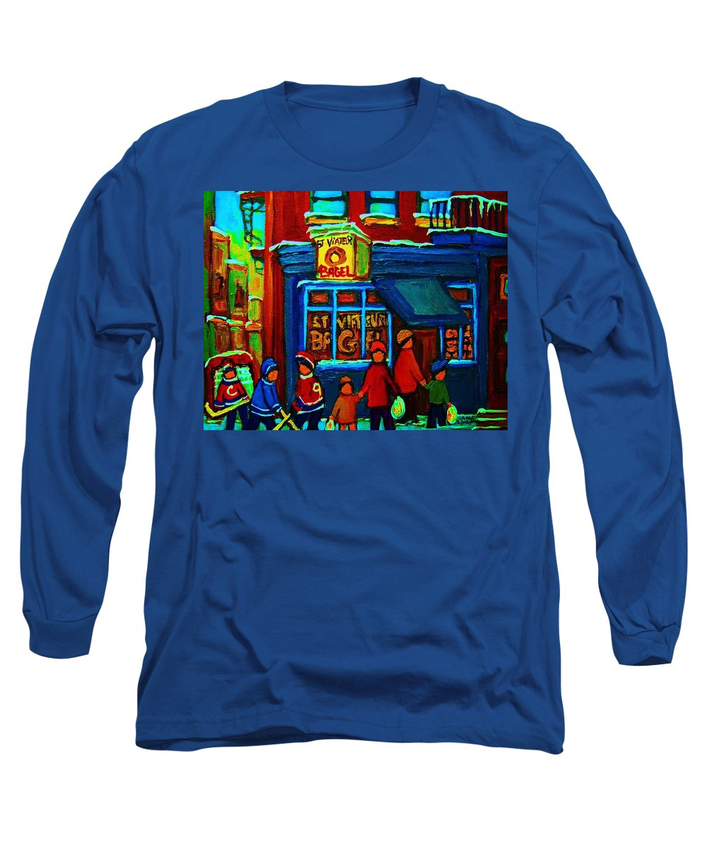 Montreal Bagelshop Long Sleeve T-Shirt featuring the painting St.viateur Bagel And Hockey Kids by Carole Spandau