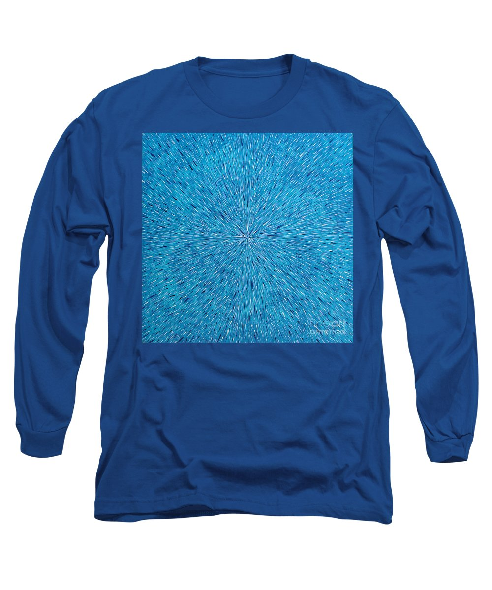 Abstract Long Sleeve T-Shirt featuring the painting Su Gaia Rain by Dean Triolo