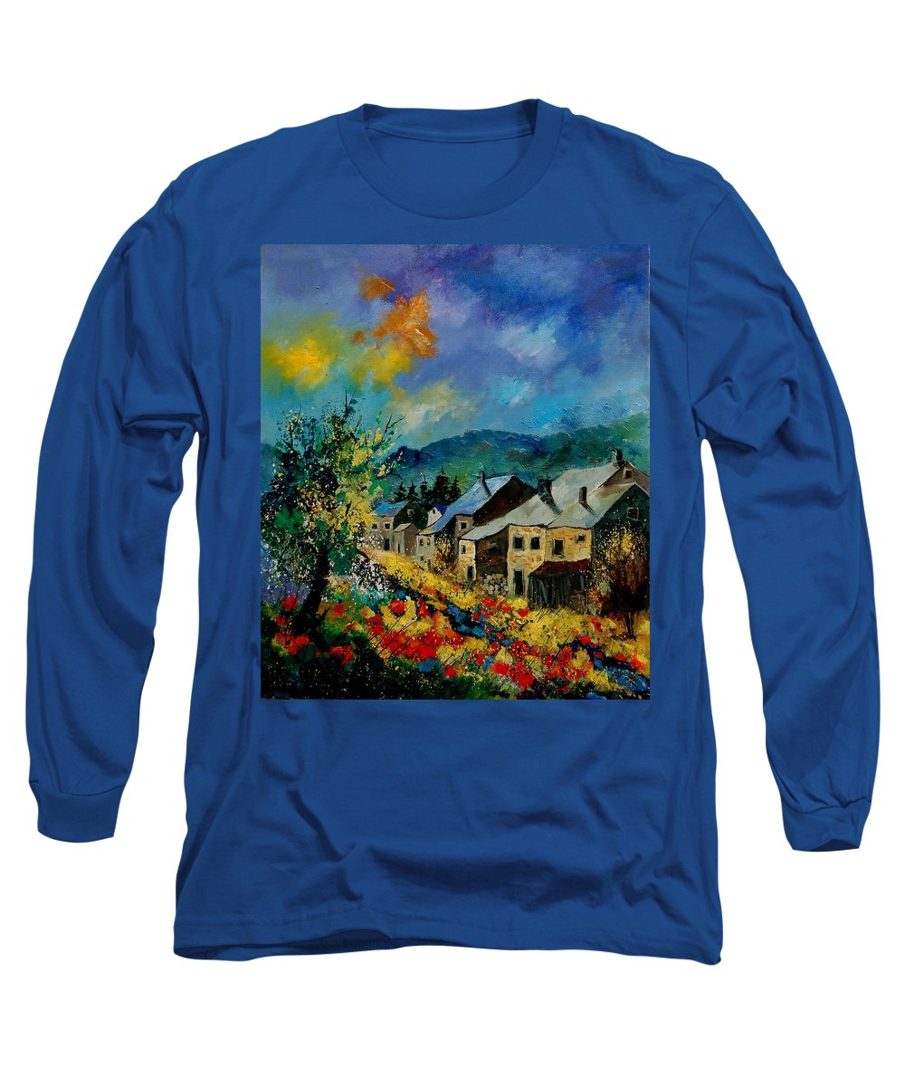 Poppies Long Sleeve T-Shirt featuring the painting Summer In Mogimont by Pol Ledent