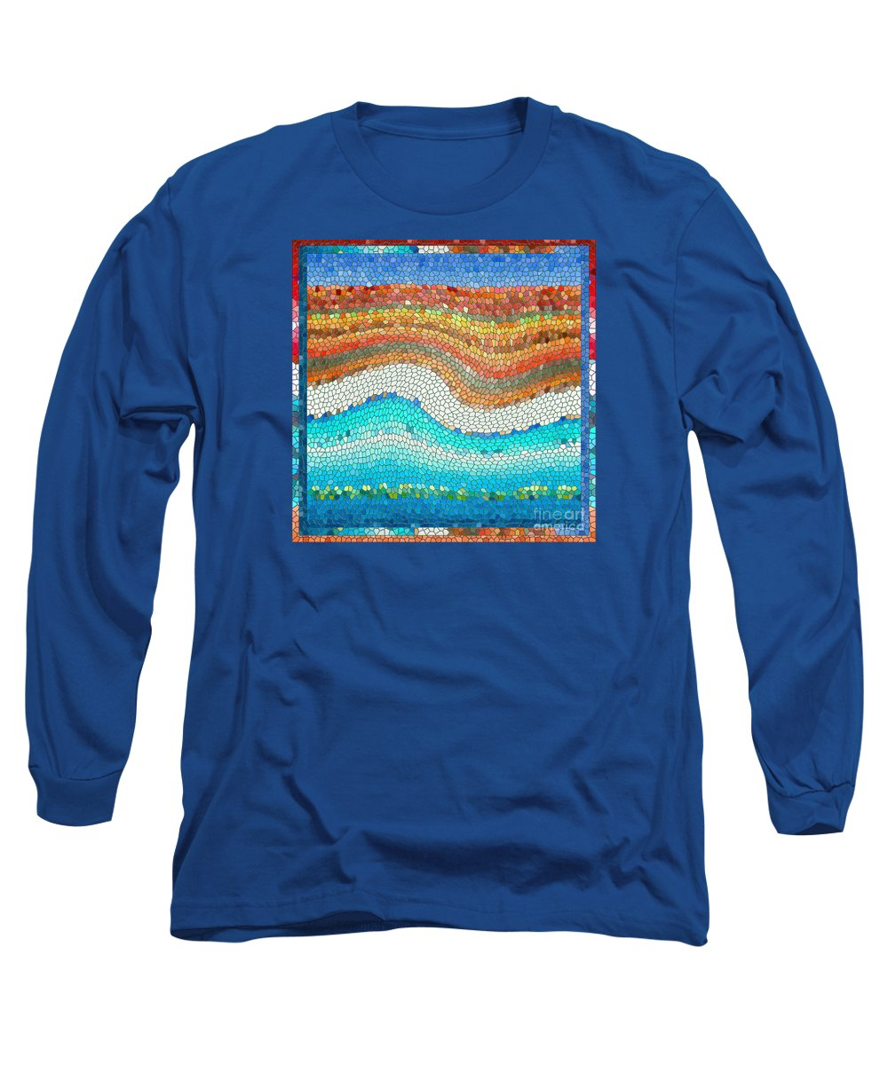 Colorful Long Sleeve T-Shirt featuring the digital art Summer Mosaic by Melissa A Benson