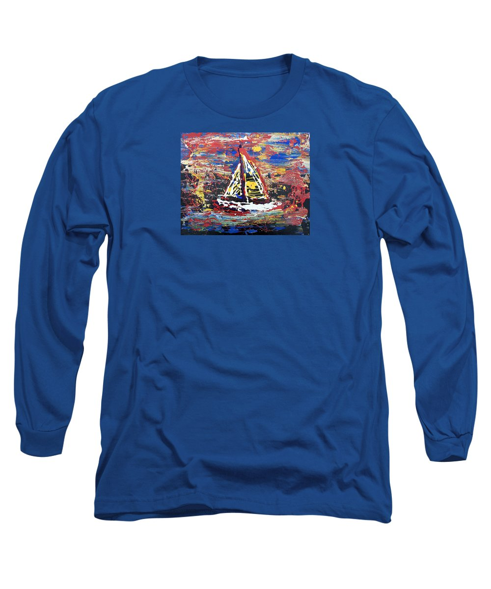 Abstract Art Long Sleeve T-Shirt featuring the painting Sunset On The Lake by J R Seymour