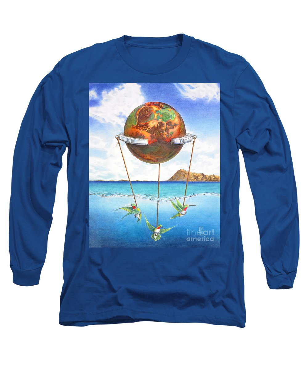 Surreal Long Sleeve T-Shirt featuring the painting Tethered Sphere by Melissa A Benson