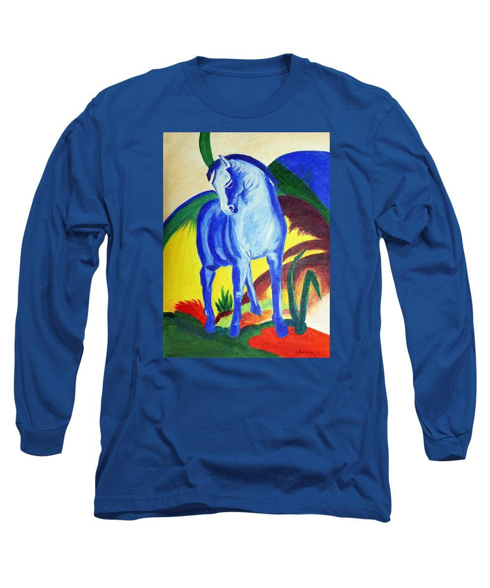 Horse Long Sleeve T-Shirt featuring the painting The Blue Horse Franc Marz by Asha Sudhaker Shenoy