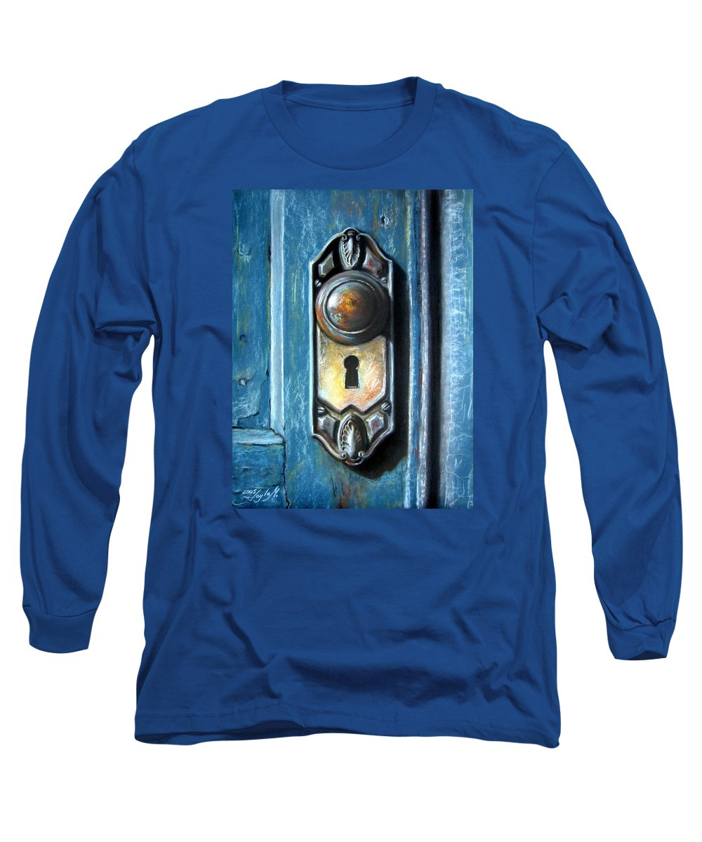 Door Knob Long Sleeve T-Shirt featuring the painting The Door Knob by Leyla Munteanu