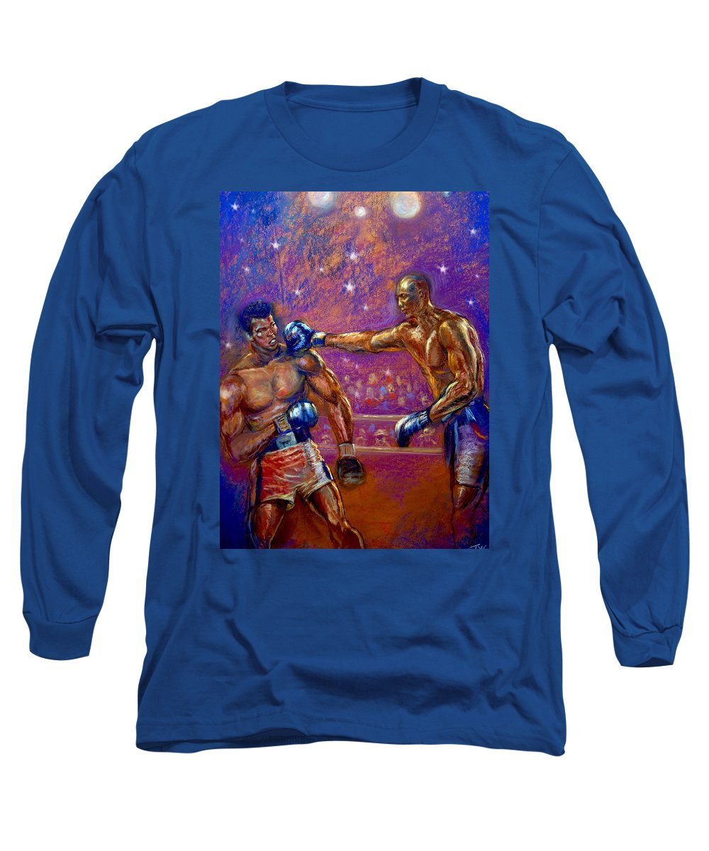 Boxing Long Sleeve T-Shirt featuring the pastel the Greatest Muhammed Ali vs Jack Johnson by Tommy Winn