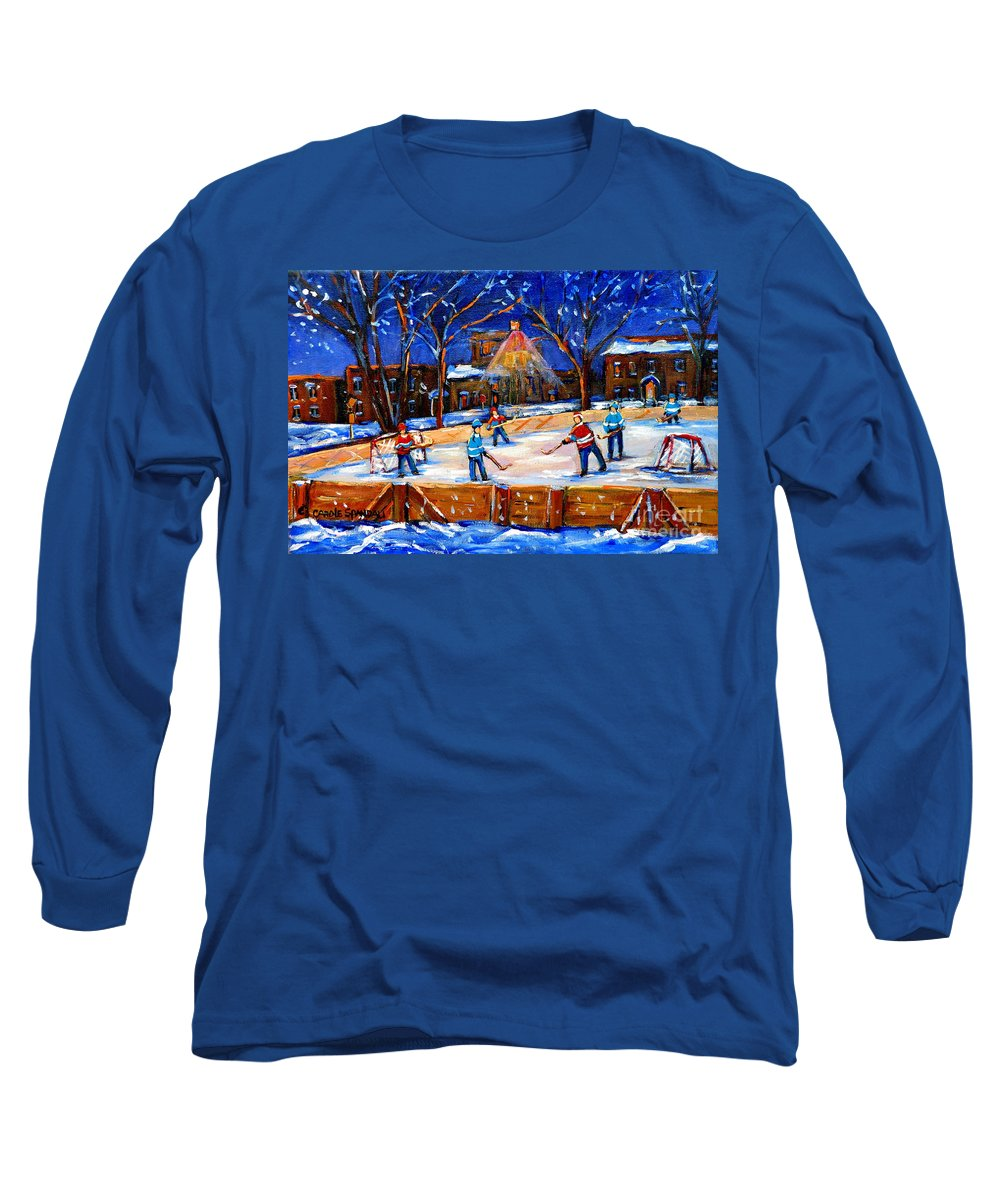 Montreal Long Sleeve T-Shirt featuring the painting The Neighborhood Hockey Rink by Carole Spandau