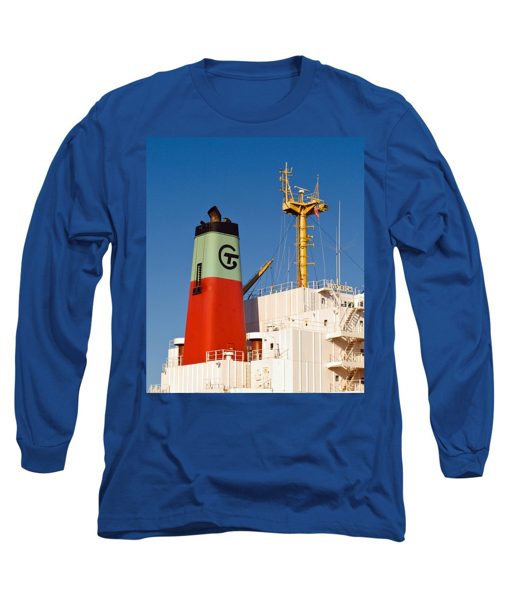 Cape; Canaveral; Port; Florida; Atlantic; Ship; Boat; Freight; Freighter; Bulk; Coal; Unloading; Loa Long Sleeve T-Shirt featuring the photograph Tramp Steamer Unloading Coal At Port Canaveral In Florida by Allan Hughes