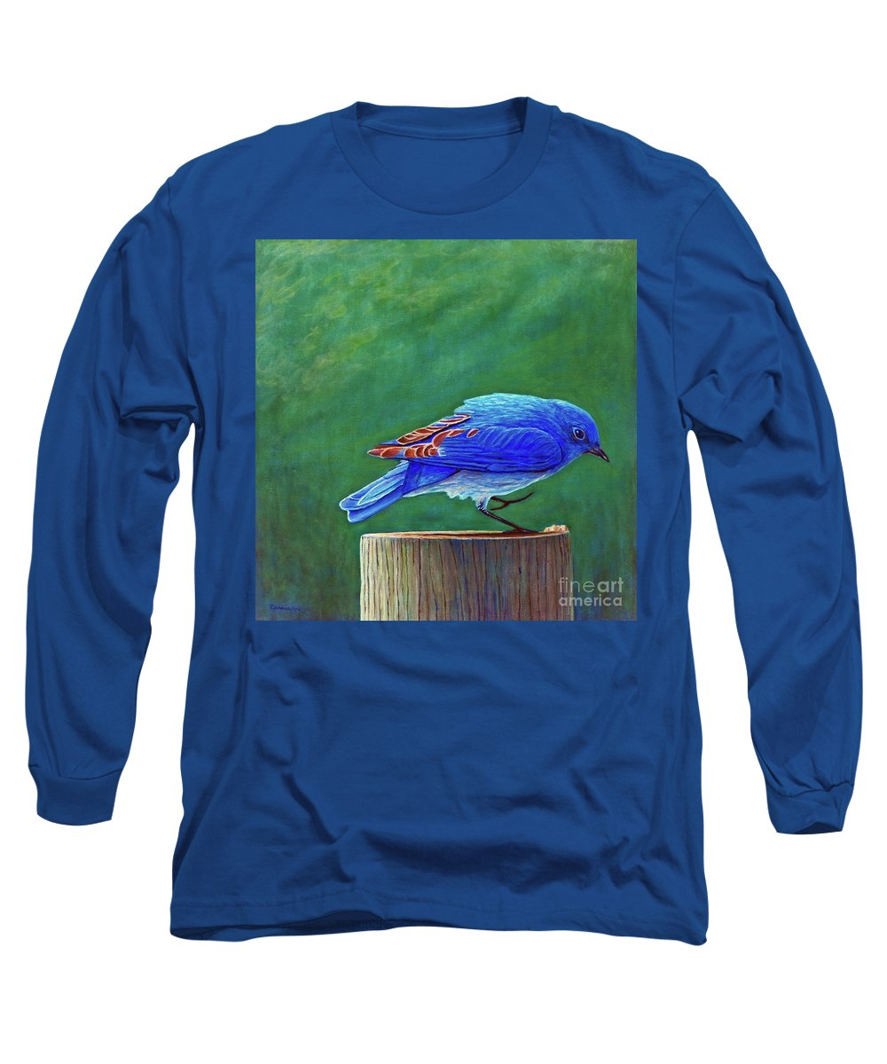 Bluebird Long Sleeve T-Shirt featuring the painting Two Step by Brian Commerford