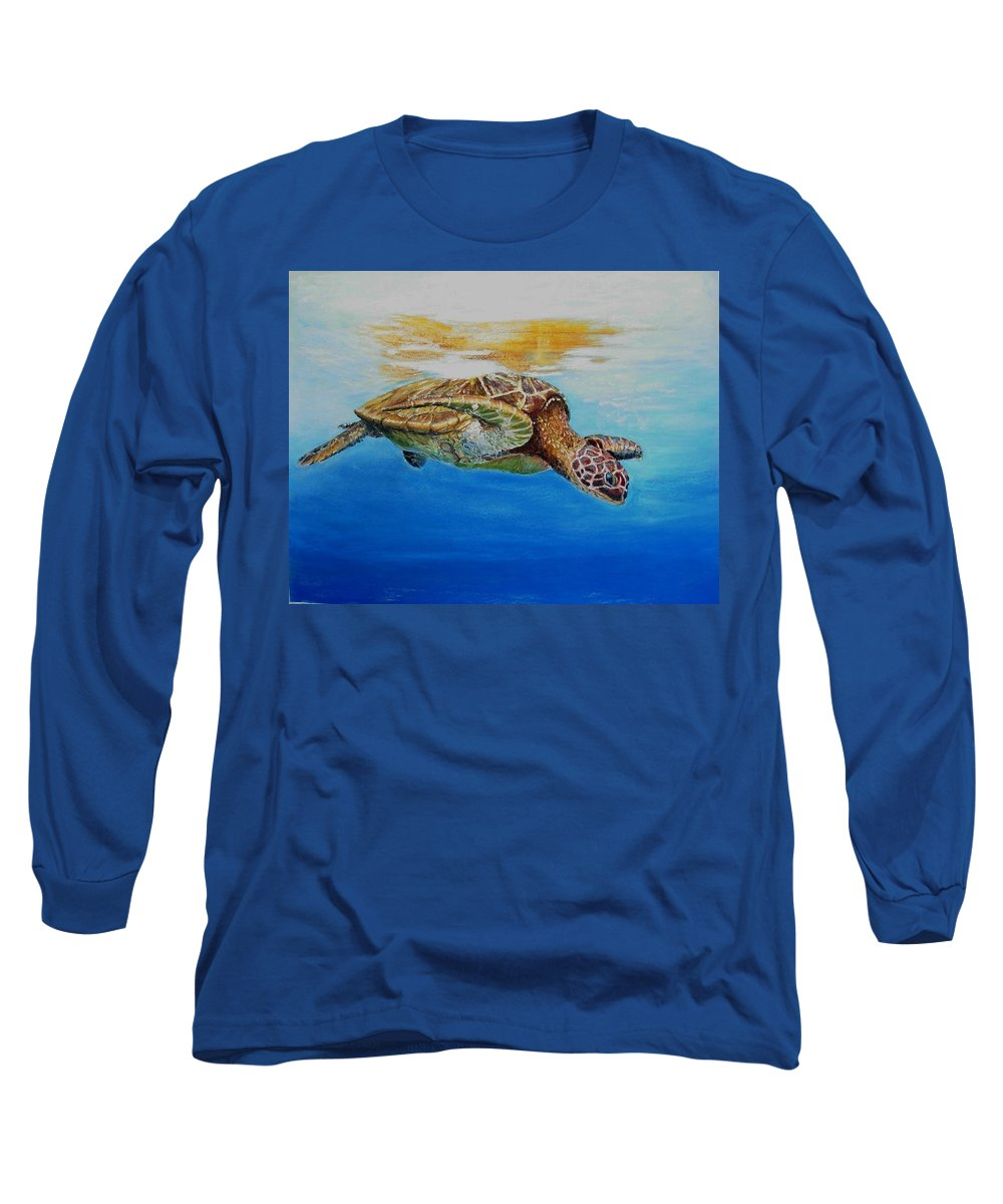 Wildlife Long Sleeve T-Shirt featuring the painting Up For Some Rays by Ceci Watson