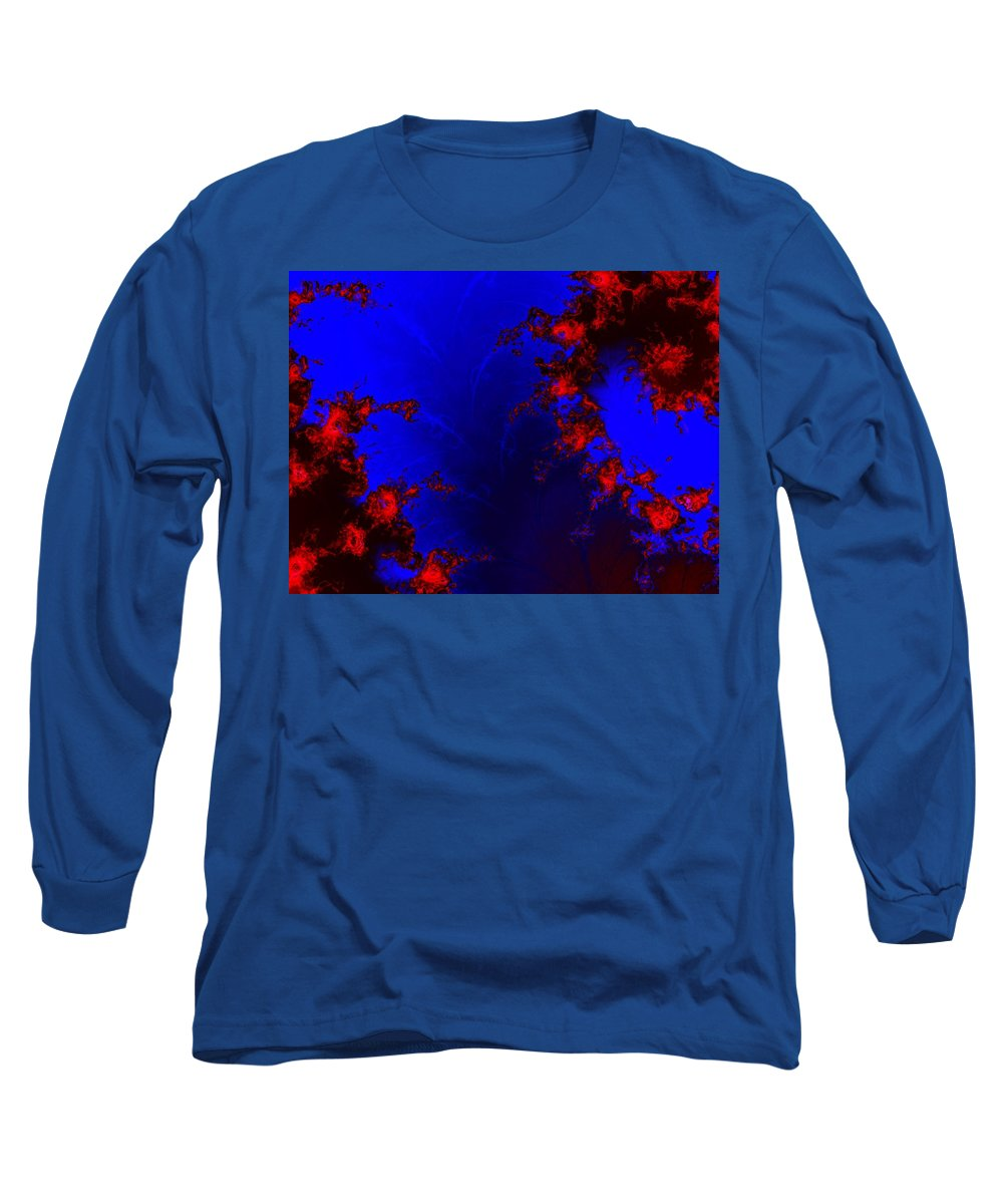 Lava Flow Wind Rythm Volcano Red Blue Long Sleeve T-Shirt featuring the digital art Volcano by Veronica Jackson