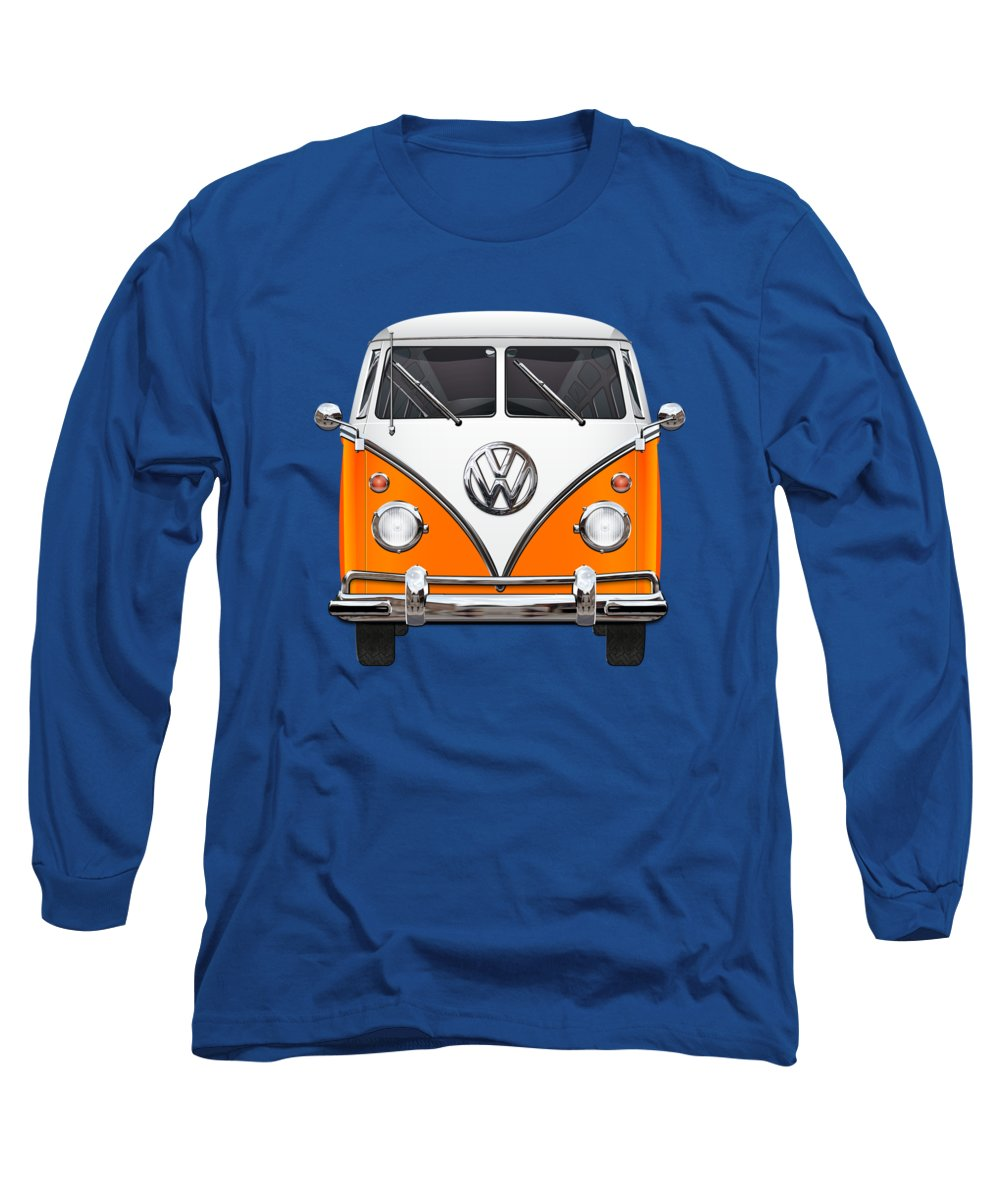 'volkswagen Type 2' Collection By Serge Averbukh Long Sleeve T-Shirt featuring the photograph Volkswagen Type - Orange And White Volkswagen T 1 Samba Bus Over Blue Canvas by Serge Averbukh