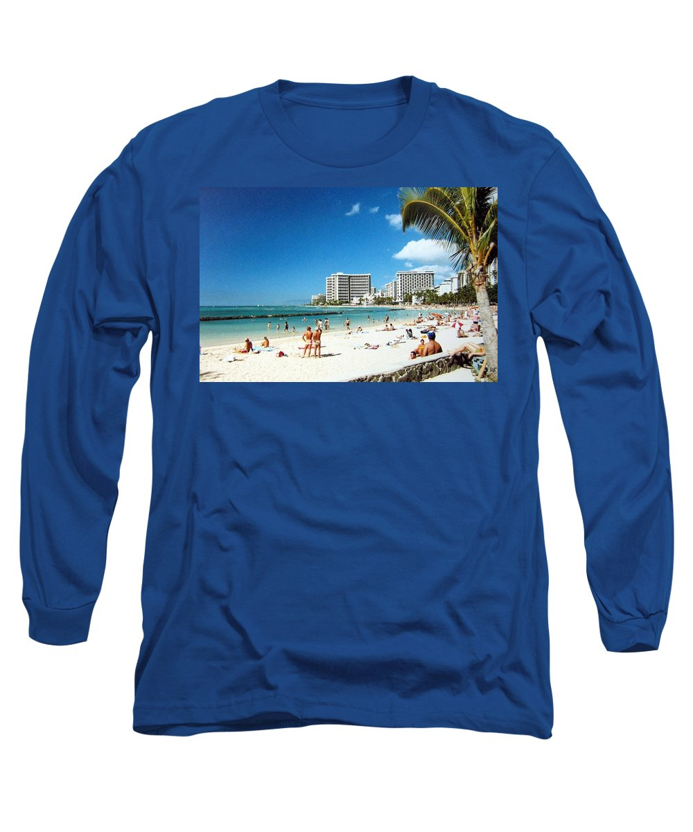1986 Long Sleeve T-Shirt featuring the photograph Waikiki Beach by Will Borden
