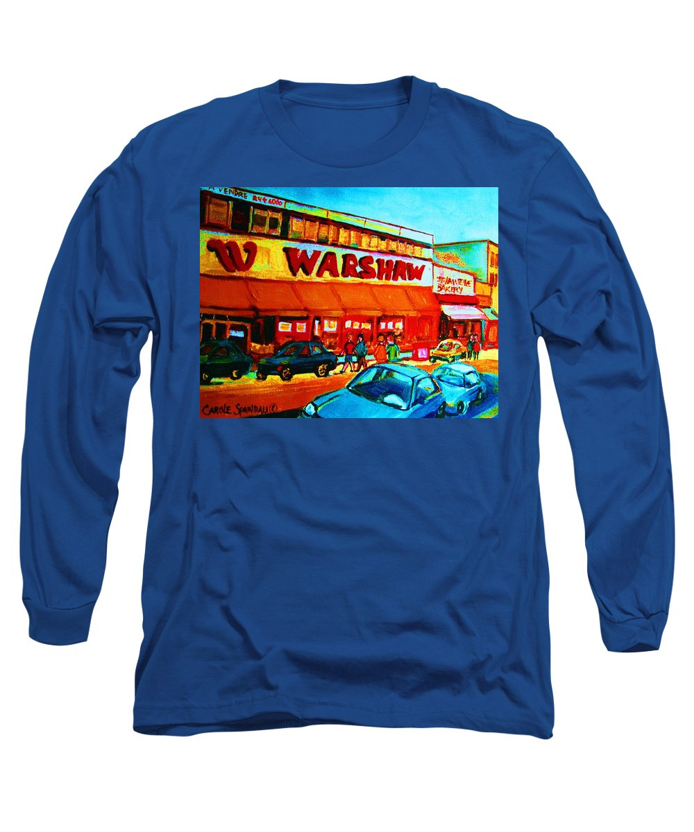 Warshaws Fruit Store Long Sleeve T-Shirt featuring the painting Warshaws Fruitstore On Main Street by Carole Spandau
