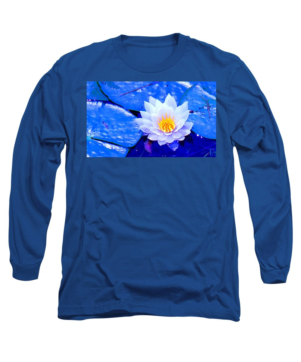 Waterlilly Long Sleeve T-Shirt featuring the photograph Blue Water Lily by Ian MacDonald