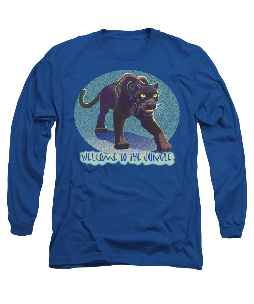Panther Long Sleeve T-Shirt featuring the mixed media Welcome To The Jungle by J L Meadows