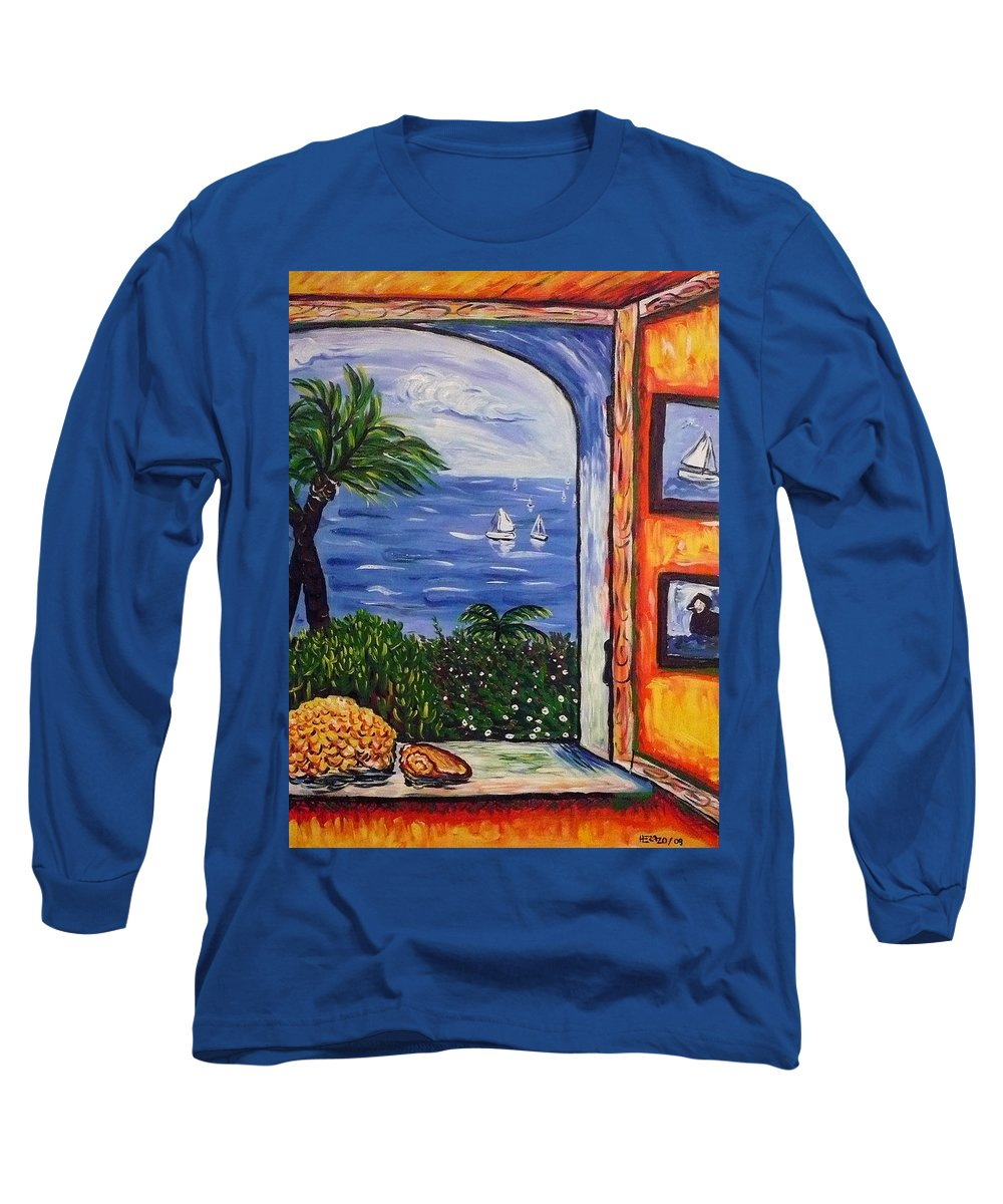 Landscape Long Sleeve T-Shirt featuring the painting Window With Coral by Ericka Herazo